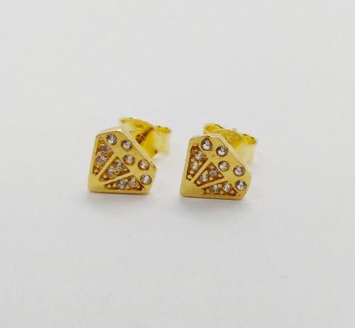 Kolczyki złote pr. 585 białe cyrkonie Kod: KL5331