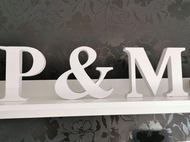 Literki drewniane na stół Inicjały P&M