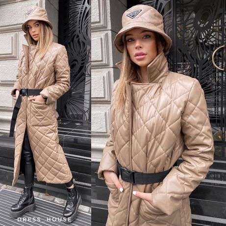 Стильное стеганое пальто из эко-кожи