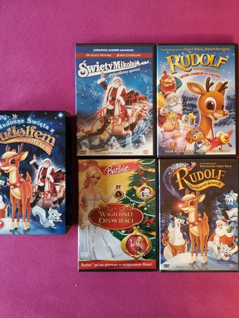 4szt bajki i filmy na DVD świąteczne Barbie Rudolf