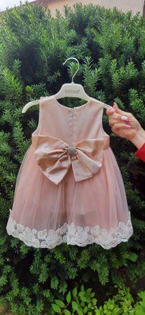 Плаття нарядне дятяче персикове бант