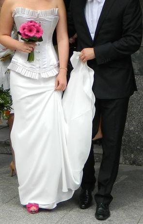 Suknia ślubna Justine Mireil ecru z wiązanym gorsetem i trenem