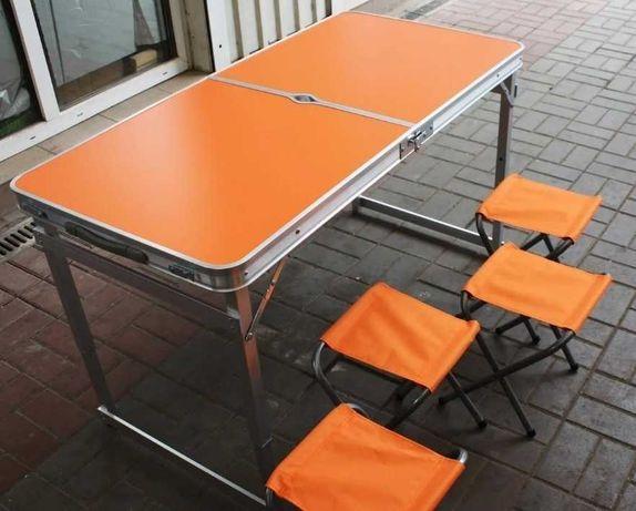 Стол для пикника усиленный и обычный + 4 стула + зонт (разные цвета)