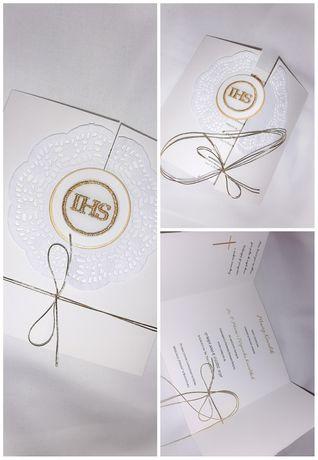 Zaproszenie komunia święta 14x14 złote haft
