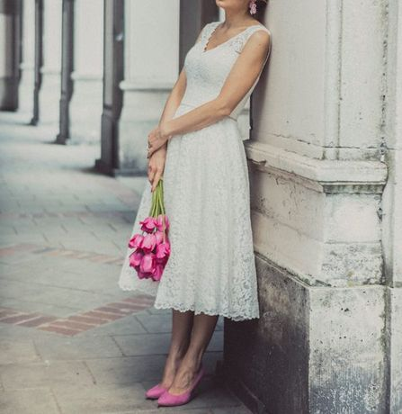 Suknia ślubna, idealna na ślub cywilny, lata 60-te