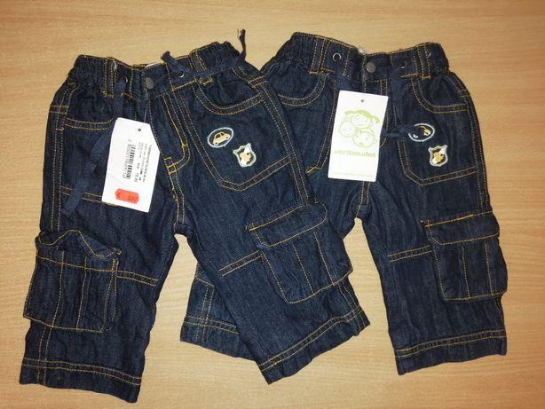 New Утепленные джинсы Vertbaudet штаны на осень мальчику 3-6мес