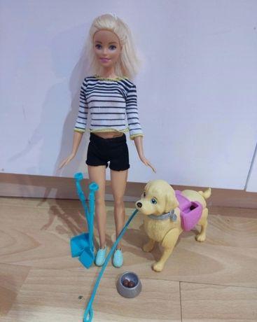 Lalka Barbie+ piesek chodzący