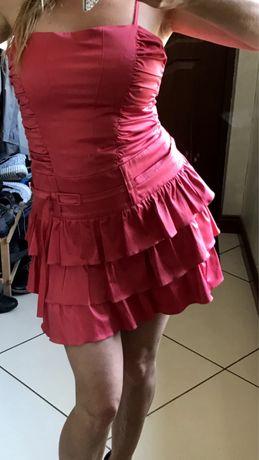 Piekna koralowa sukienka S/m pretty girl falbanki