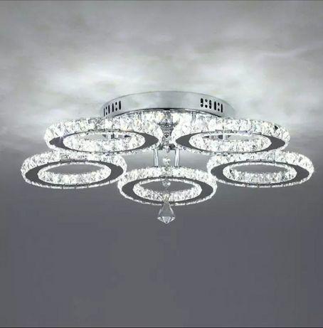 Żyrandol Kryształowy LED PLAFON Nowoczesna Lampa Sufitowa Glamour