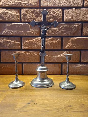 Lichtarze świeczniki krzyż stare prl