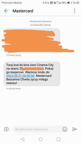 Kod (voucher) do kina Cinema City na dowolny film (seans) 2D