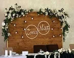 Ścianka za parą młodą, weselna, drewniana, ślubna, rustykalna, boho