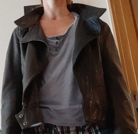 casaco de couro (em pele verdadeira)