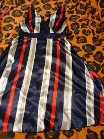 Piękna kolorowa sukienka w pasy na imprezę rozmiar 18 44/46