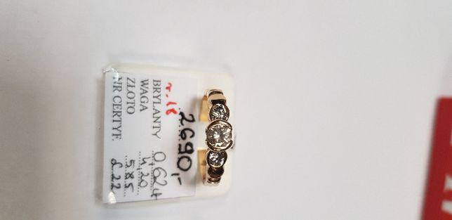 Śliczny złoty perścionek z brylantami 0,62 karata 585