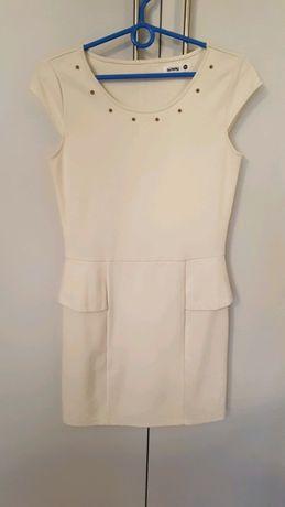 Rozmiar M, kremowa sukienka Sinsay, sukienka na wesele, elegancka