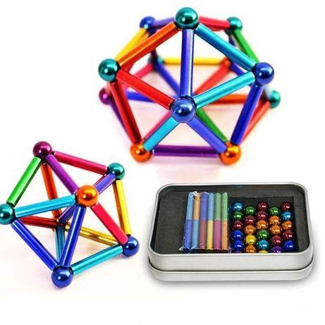 Магнитный конструктор головоломка палочки и шарики 63 детали неокуб
