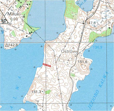 Działka z możliwością zabudowy i linią brzegową jeziora Kalwa