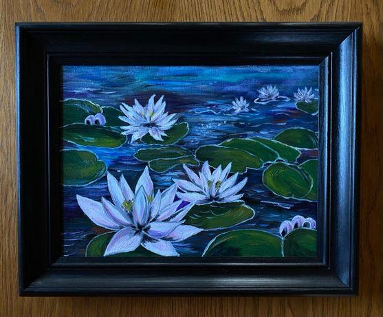 obraz olejny - Lilie wodne