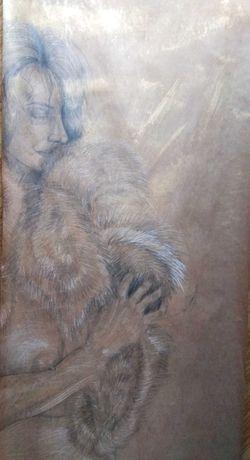 Obraz rysunek akt kobiety kobieca postać dziewczyna w futrze ekspresja
