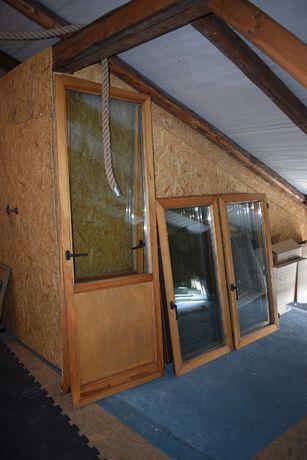 Okna drewniane, dwu szybowe z demontażu