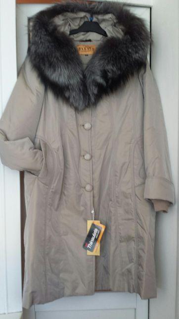 Новое пальто на натуральной меховой подстежке.Цвет беж. Р.56 и 54.