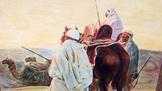 Ogromny przedwojenny obraz olejny beduini pustynia
