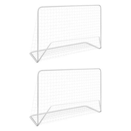 vidaXL Balizas de futebol com redes 2 pcs aço 182x61x122 cm aço branco 276047