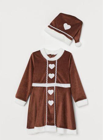 Świąteczna sukienka i czapka święta pani piernik ludzik roz.122-128cm