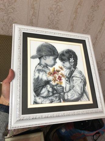 Картина «Детки» нитками DMC