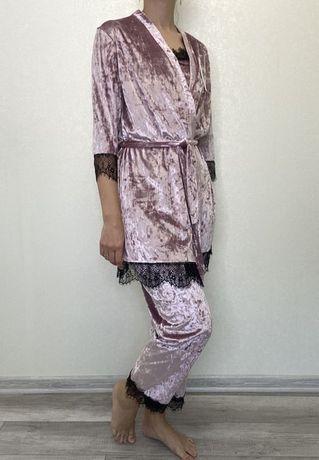 3в1  велюровая пижама : маечка, штаны и халатик