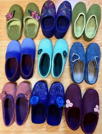 Валяная обувь, валяные тапочки, шерсть,ручная работа, тапочки для дома