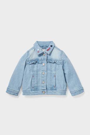 Минни Маус - детская джинсовая куртка - в горошек