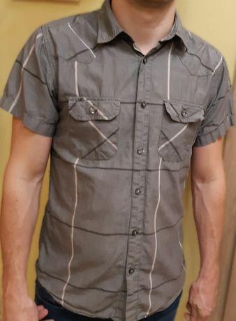 Szara męska koszula w kratę s z krótkim rękawem