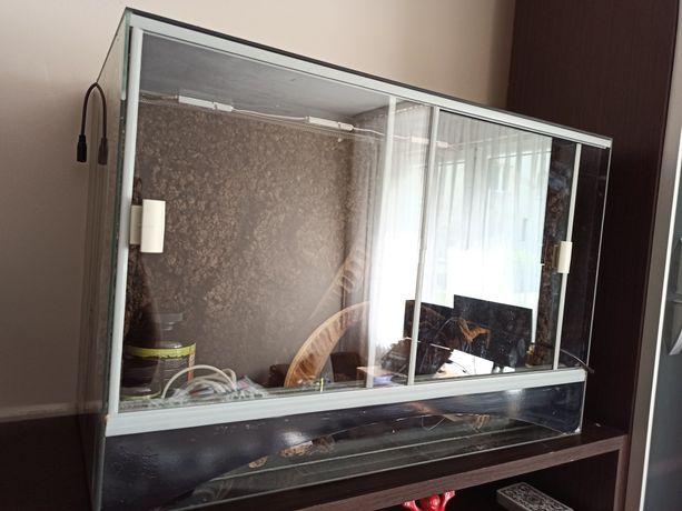Terrarium szklane  30x40x60 gekon/wąż z wyposażeniem