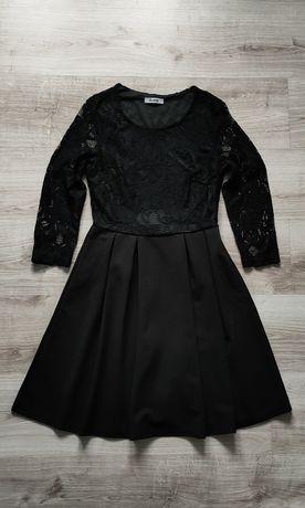 Coloseum czarna sukienka elastyczna koronka rozmiar S