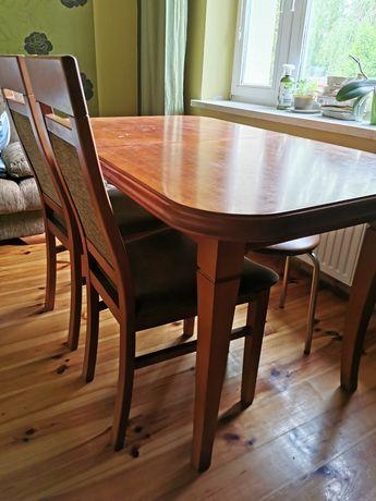Drewniany stół rozkładany + 4 krzesła Nowosolna ostatnia szansa