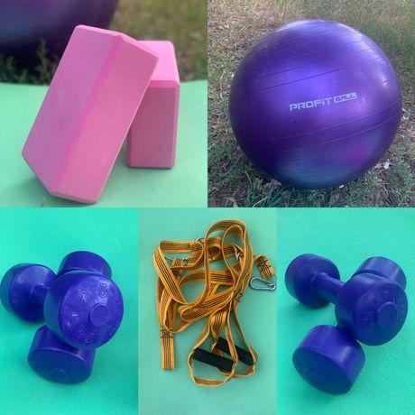 Петли, фитбол, гантели,коврики и кубики для тренировок