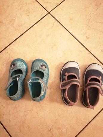 Dwie pary bucików dla dziewczynki rozmiar 22 po domu buty tenisówki