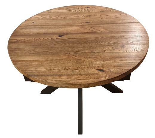 Stół drewniany okrągły rozkładany rustykalny inudstrialny