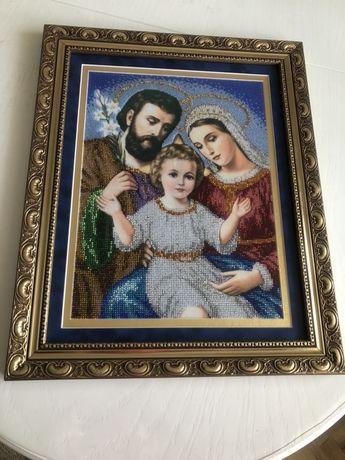 Ікона,»Святе сімейство» вишита бісером/образ/икона