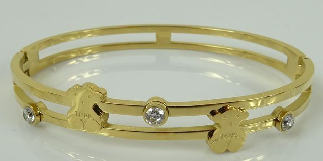 bransoletka złota pozłacana kryształki misie bear logo tous