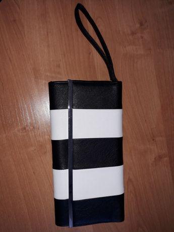 kopertówka elegancka biało/czarna