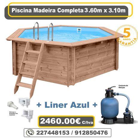 Piscina de Madeira 3.60m x 3.10m + Sistema de Filtragem + Acessorios