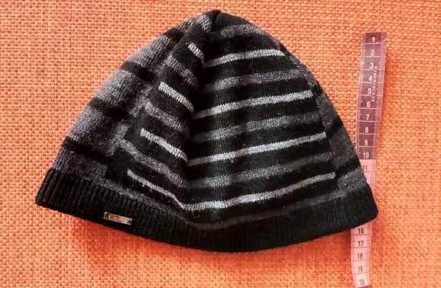 шапка в полоску двойная теплая шерсть