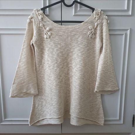 Ażurowa bluzka cienki sweterek rękaw 3/4 River Island 34 36 xs s