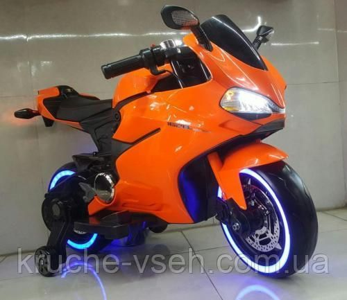 Детский электромобиль Мотоцикл M 4104, колеса EVA, LED-подсветка, кожа