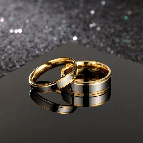 Elegancka Para Złoto - Srebrnych Obrączek Ślubnych