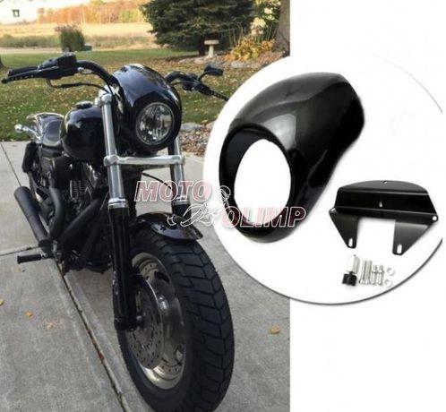 Обтекатель (ветровое стекло) под круглую фару на мотоцикл Custom (Stre