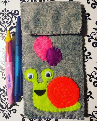 Piórnik, hand made, na prezent, filc, szkoła przedszkole